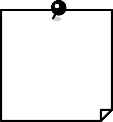 押しピンを刺したメモ用紙の白黒フレーム枠イラスト