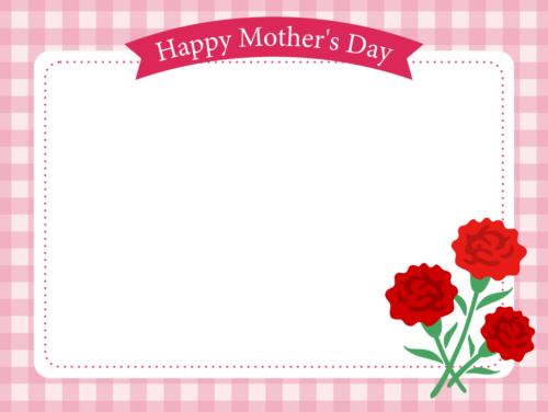 母の日用メッセージカード・テンプレート(チェック柄)