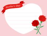 母の日用メッセージカード・テンプレート(ハート)