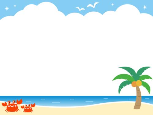 夏の海の背景フレーム枠イラスト