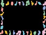 音符のフレーム枠イラスト(パステルカラー)