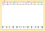音符とピアノのフレーム枠イラスト