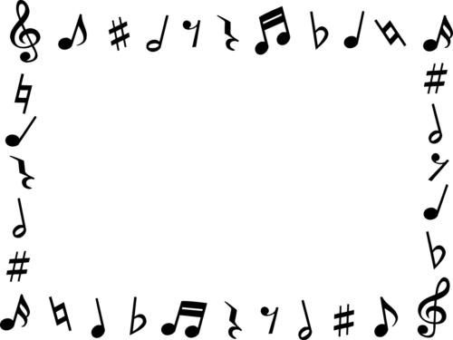 音符の白黒フレーム枠イラスト