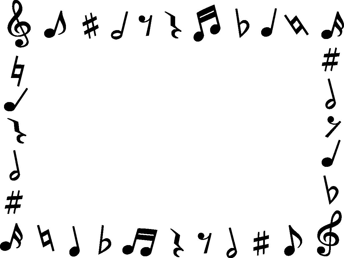 音符の白黒フレーム枠イラスト イラストストック