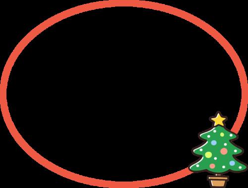 クリスマスツリーの吹き出し風フレーム枠イラスト