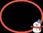 雪だるまの吹き出し風フレーム枠イラスト