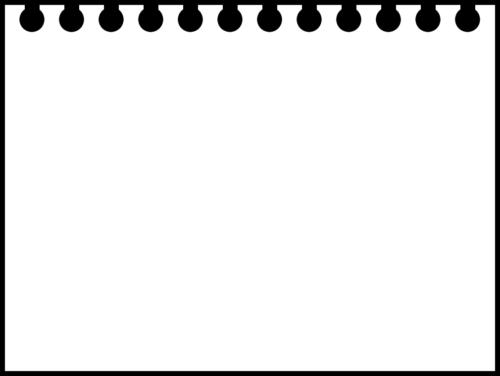 破ったリングノートの白黒フレーム枠イラスト(無地)