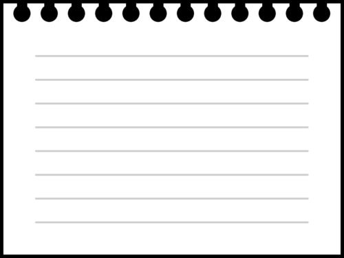 破ったリングノートの白黒フレーム枠イラスト(罫線入り)