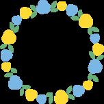 青色と黄色のバラの丸型フレーム枠イラスト