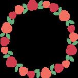 赤いバラの丸型フレーム枠イラスト