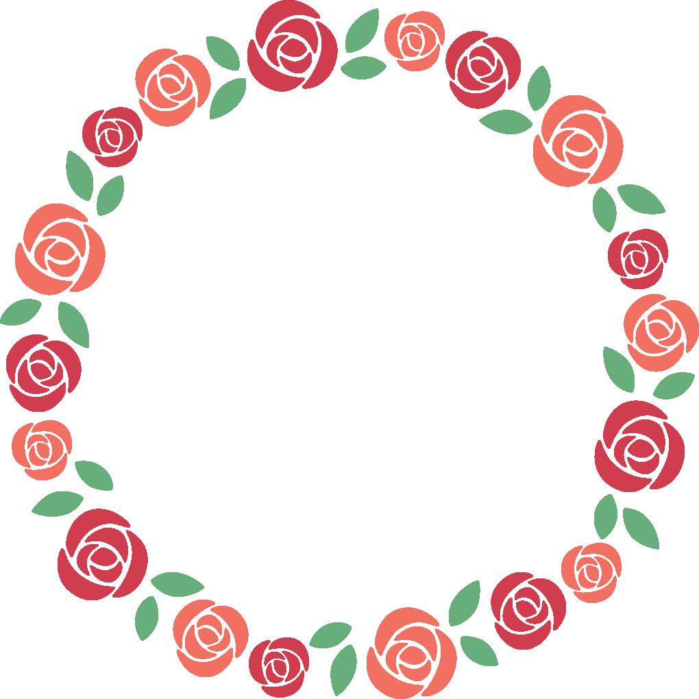 赤いバラの丸型フレーム枠イラスト イラストストック
