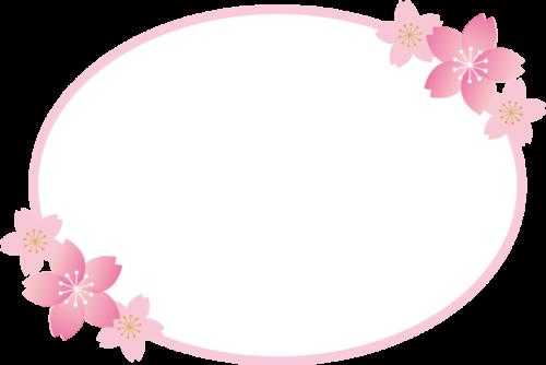 桜を飾った春の楕円形フレーム枠イラスト