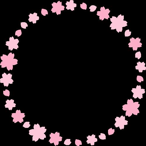 桜の丸型フレーム枠イラスト