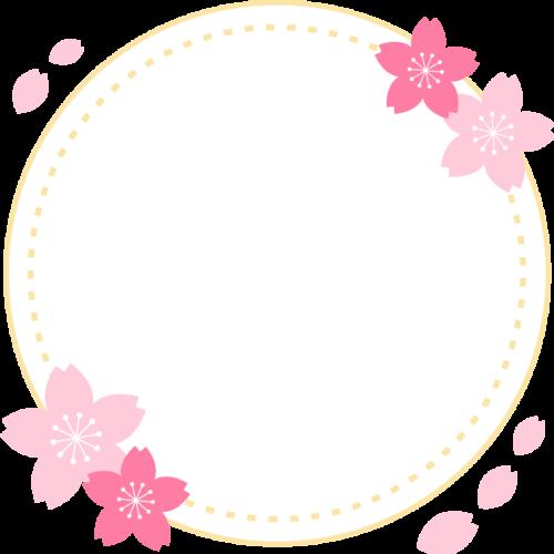 桜を飾った春の丸型フレーム枠イラスト