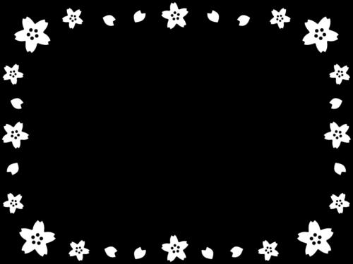 桜の白黒フレーム枠イラスト
