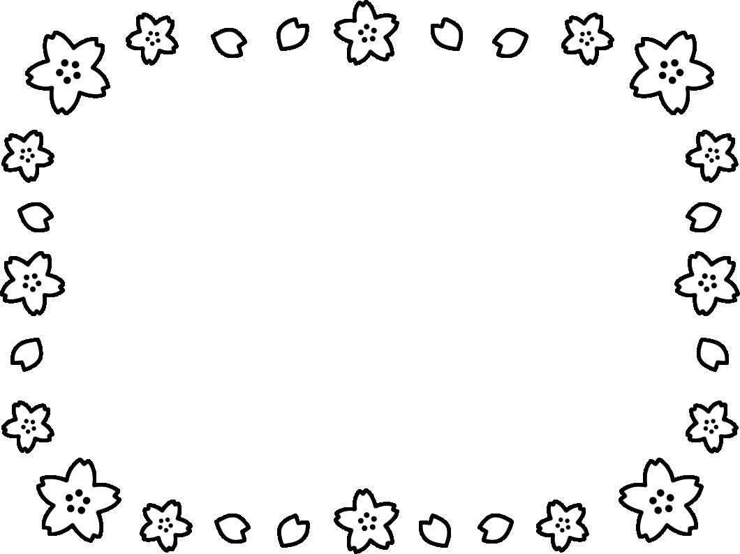 桜の白黒フレーム枠イラスト イラストストック