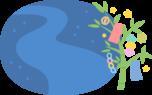 笹飾りと天の川の丸型背景フレーム枠イラスト