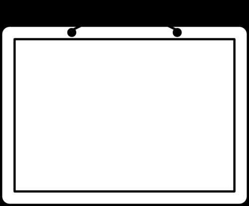 吊り看板の白黒フレーム枠イラスト