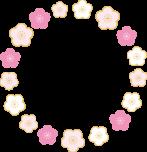 梅の花のリースフレーム枠イラスト