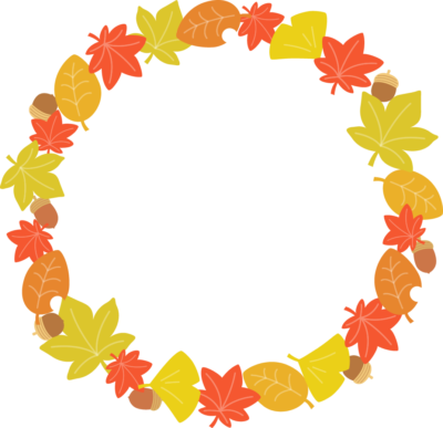 紅葉した落ち葉のリース型フレーム枠イラスト