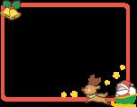 ソリに乗ったサンタクロースとクリスマスベルのフレーム枠イラスト