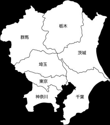 【白地図】関東地方のイラスト(都道府県名入り)