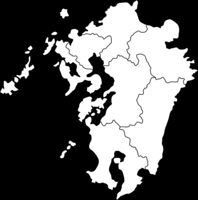 【白地図】九州地方のイラスト