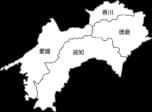 【白地図】四国地方のイラスト(都道府県名入り)