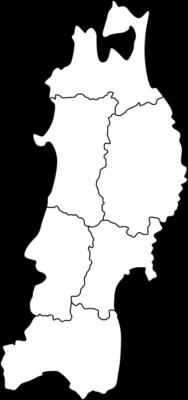 【白地図】東北地方のイラスト
