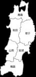 【白地図】東北地方のイラスト(都道府県名入り)