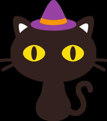 黒猫のハロウィンイラスト