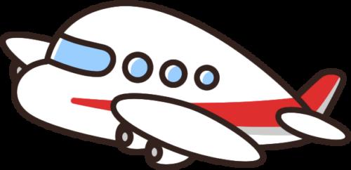 かわいい飛行機のイラスト(赤)