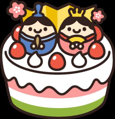 ひな祭りケーキのイラスト