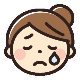 泣いている女性のイラストアイコン