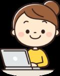 パソコンをするかわいい女性のイラスト