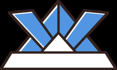 折り紙の兜のイラスト(青色)