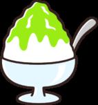 かき氷のイラスト(メロン味)
