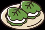 お皿にのった2個の柏餅のイラスト