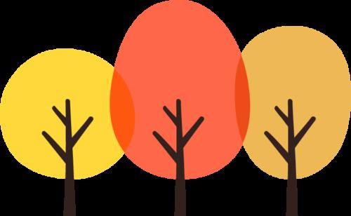 紅葉した木のイラスト