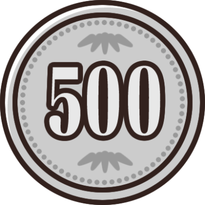 500円玉(小銭・硬貨・貨幣)のイラスト素材