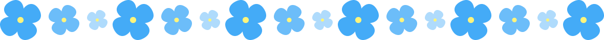 青いアジサイのライン飾り罫線イラスト