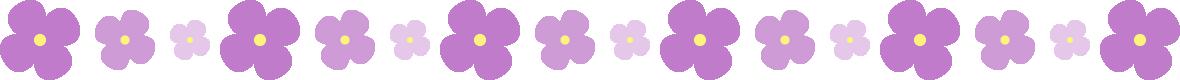 紫のアジサイのライン飾り罫線イラスト