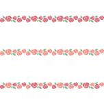 赤いバラのライン飾り罫線イラスト