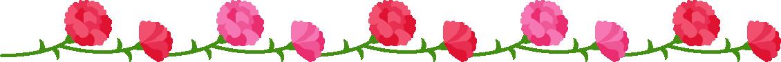 カーネーションのライン飾り罫線イラスト(赤&ピンク)