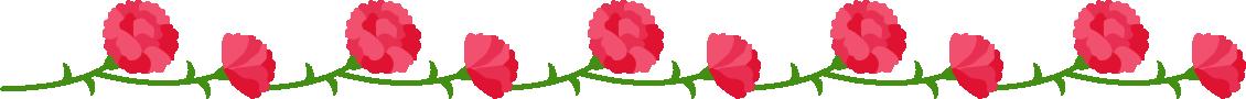 カーネーションのライン飾り罫線イラスト(赤)