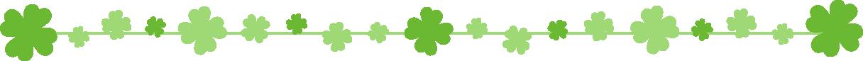 クローバーのライン飾り罫線イラスト(茎:直線)