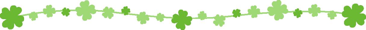 クローバーのライン飾り罫線イラスト(茎:曲線)