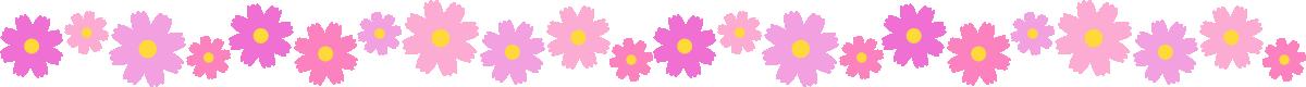 コスモスの花のライン飾り罫線イラスト(小)
