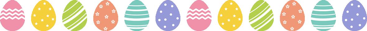 イースターのライン飾り罫線イラスト(たまご)