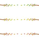 木の枝と葉っぱのライン飾り罫線イラスト